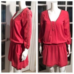 Bershka coral embroidered mini dress